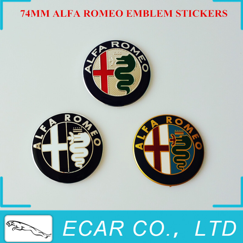 Car Styling 74mm ALFA ROMEO Car Emblem Badge Logo Stickers for Mito 147 156 159 166 Giulietta Spider GT Car Logo Emblem Badge(China (Mainland))