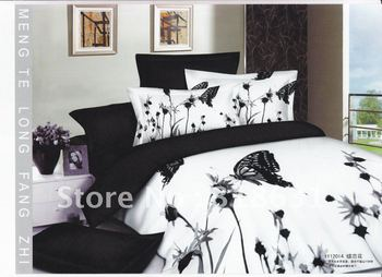 Cotton beds white and black duvet cover set for full/queen comforter or doona 4pc Butterfly Flitting above the Flowers design