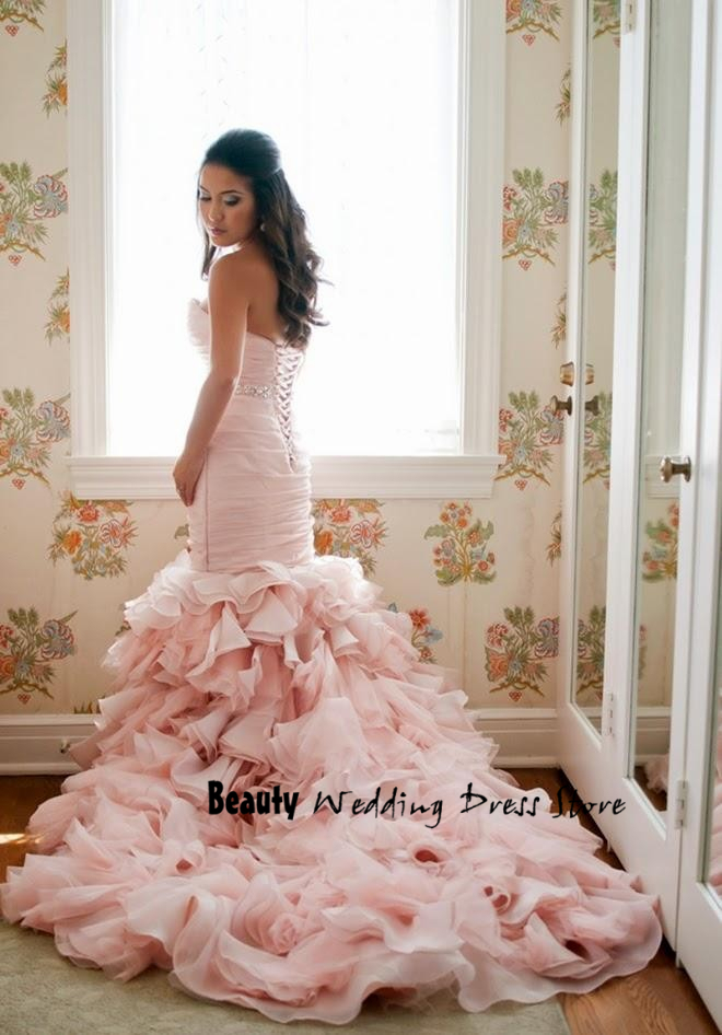 Blush colored mermaid wedding dresses images for Blush pink lace wedding dress