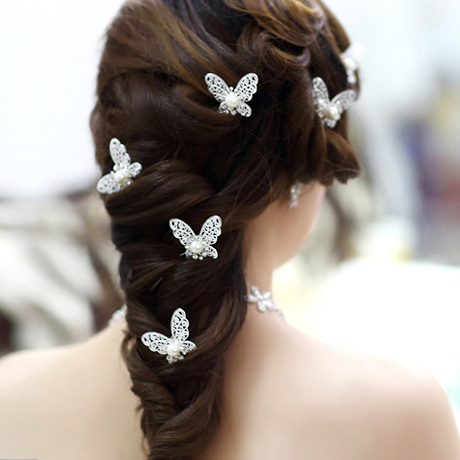 Fashion hairpin bride hair accessory butterfly comb rhinestone flower stick crystal pin - Ranton (China store Co., Ltd)