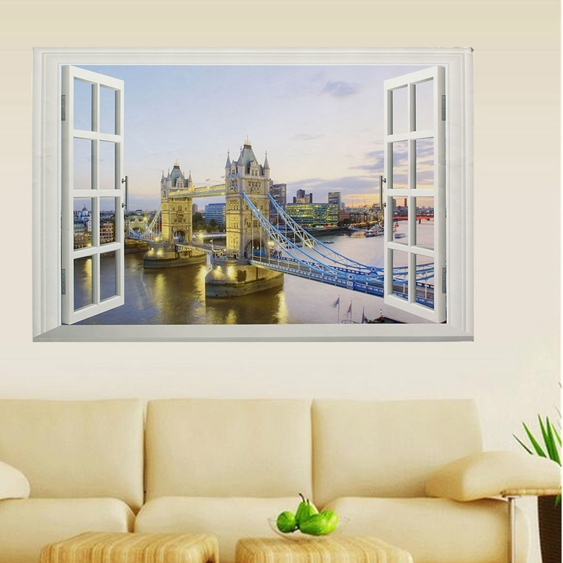 DIY 3D Window Wall Stickers London Tower Bridge Vinyl Decal Decor Living Room Bedroom Office Home Kids Room Decor(China (Mainland))