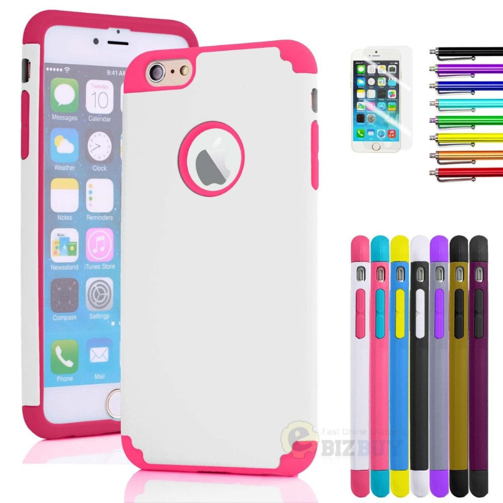 "Case Cover For iPhone 6 Plus 5.5"" Rubber Hybrid Armor Impact Defender Skin w/ Stylus+Screen Protector(China (Mainland))"