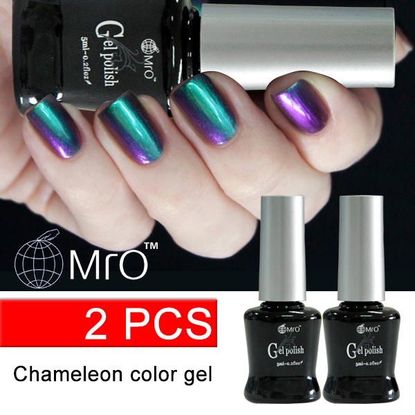 MRO 2016 new 2 pieces/ lot gel nail polish chameleon varnish esmaltes permanentes de uv gel nail chameleon professional glue(China (Mainland))