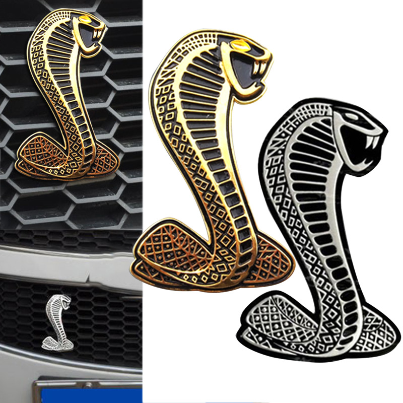 Cobra 3D Metal Chrome Sticker Car Grille Turning Logo Cobra Emblem for Ford Shelby Mustang DXY(China (Mainland))