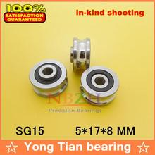 Free shipping 20 PCS SG15 2RS U Groove pulley ball bearings 5*17*8*9.75 mm Track guide roller bearing SG5RS V17