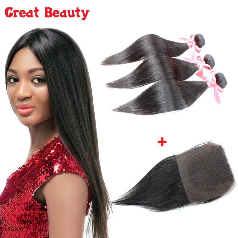 Здесь можно купить  6A Grade Brazilian Virgin Hair Straight With Lace Closure Human Hair Weft Brazilian Straight Virgin Hair 3Bundles With 1Closure  Волосы и аксессуары
