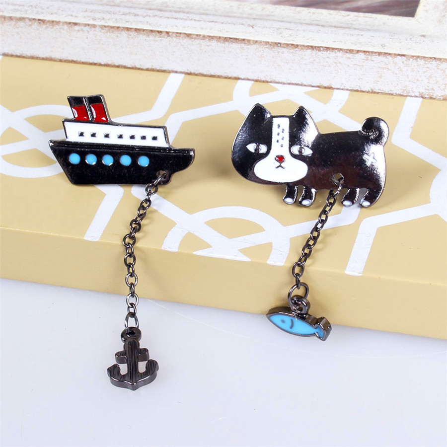 Girl girl cute kitty apparel wholesale fish ship anchor Brooch Lapel Pin wholesale gift free shipping!(China (Mainland))
