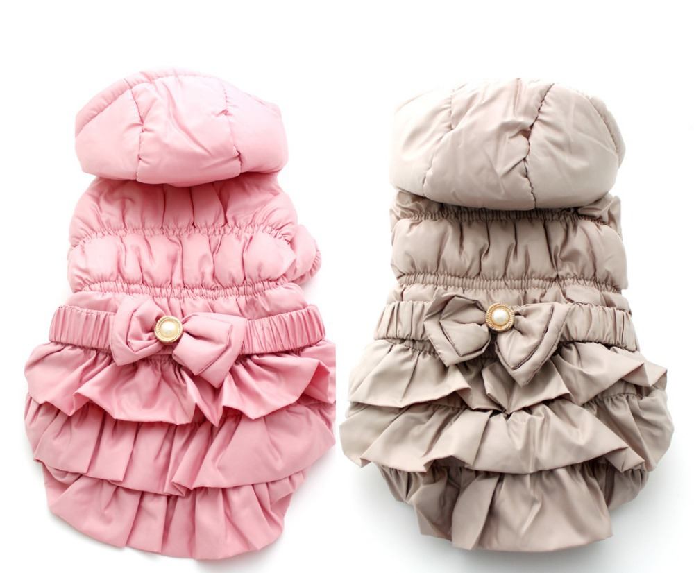 Free Shipping! Pink/Khaki pet Winter hoodies warm coats,dog clothes,5 sizes available(China (Mainland))