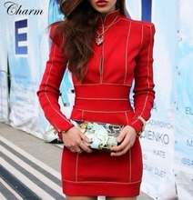 new women bodycon high neck summer dress sexy long sleeve bandage dresses front  zipper celebrity party red dress dropshipping(China (Mainland))