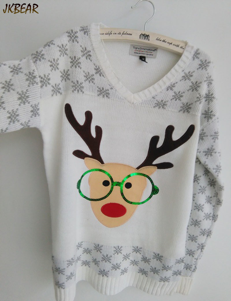 New-arriving Rudolph the Red Nose Reindeer Wearing Glasses Ugly Christmas Sweaters for Women S-XL 6