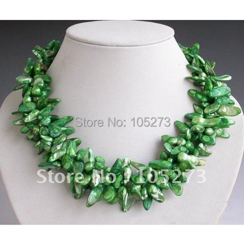 4Row 20inchs AA 10-18MM Green Tail Wine Freshwater Cultured Pearl Necklace Fashion Womens Pearl Jewelry Free Shipping FN1454<br><br>Aliexpress