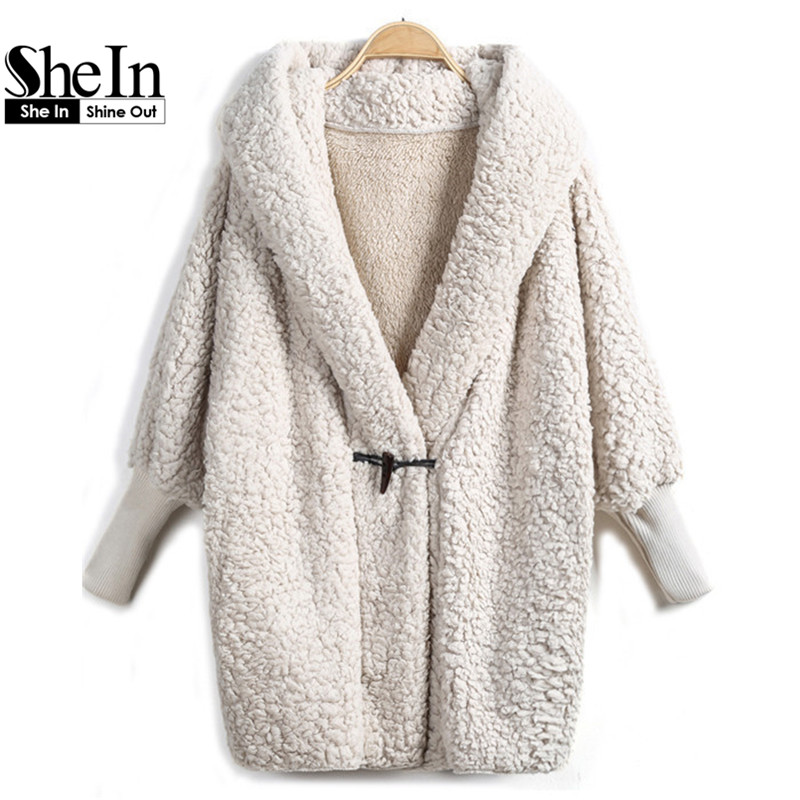SheIn 2016 Hooded Outwear Winter Newest Fashion Design Women's Apricot Batwing Long Sleeve Loose Streetwear Hoody White Coat(China (Mainland))