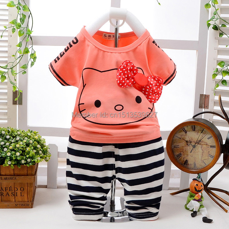 Baby Girl Summer Clothes Children Suit Hello Kitty Clothes 2015 Summer Korean Clothes Set For Girl New Baby Girl Summer Clothes(China (Mainland))