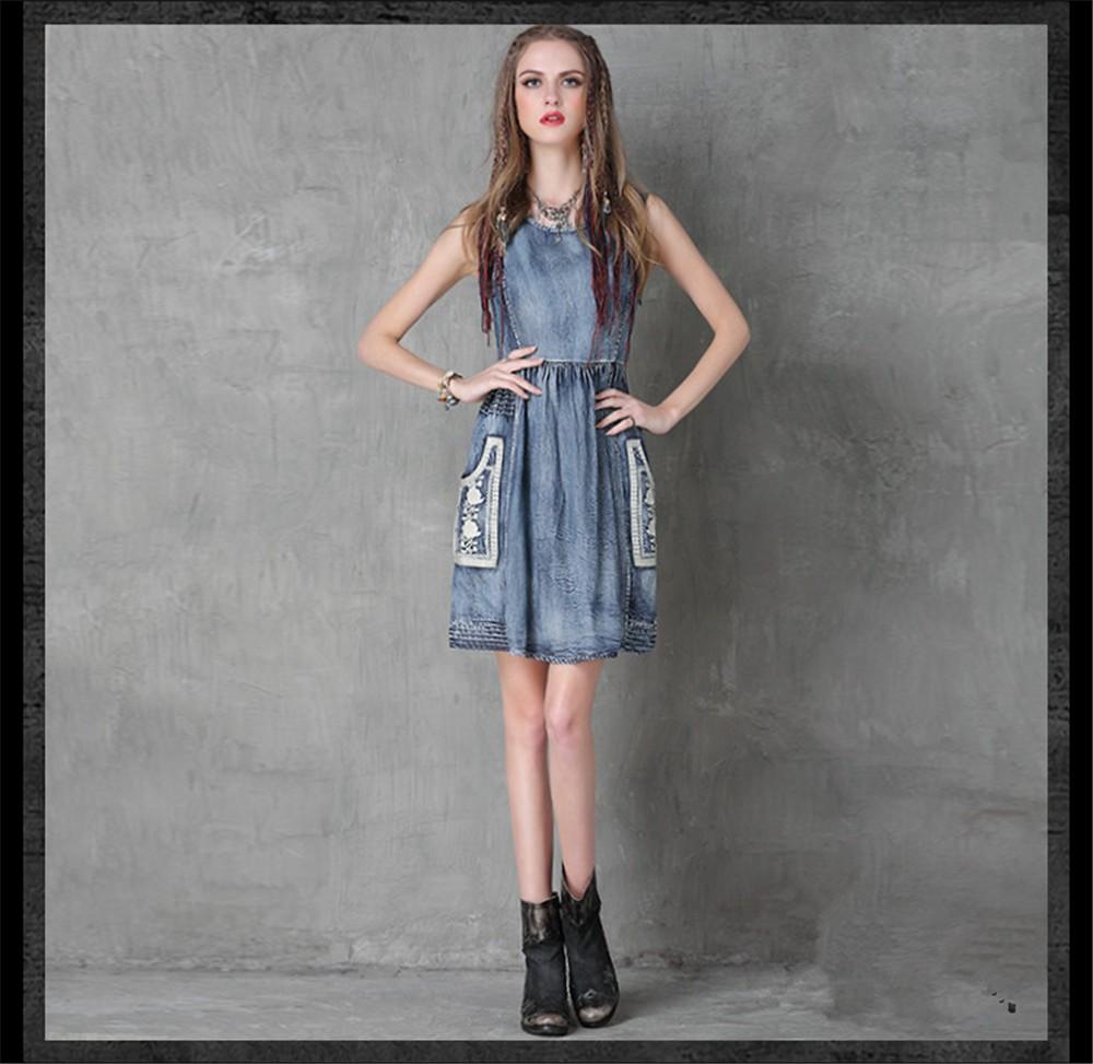 Vintage Summer Style Cotton Women Dress Cowgirl Embroidery Dress Sleeveless Denim Tank Dresses O-Neck Floral Vestidos Femininos (7)