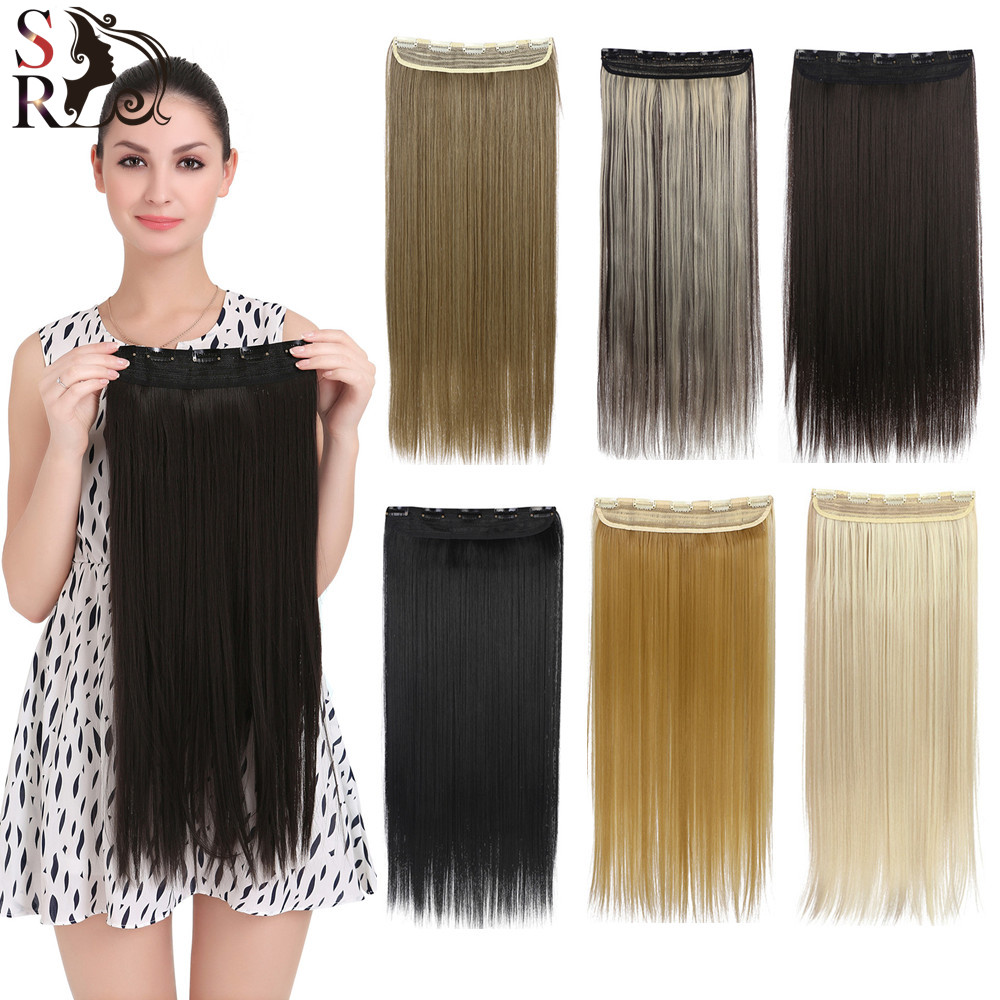 New Long 24inch 60cm  Ladies' Clip in  Hair Extensions Straight Synthetic Hairpiece Xmas Gifts Party Gifts666