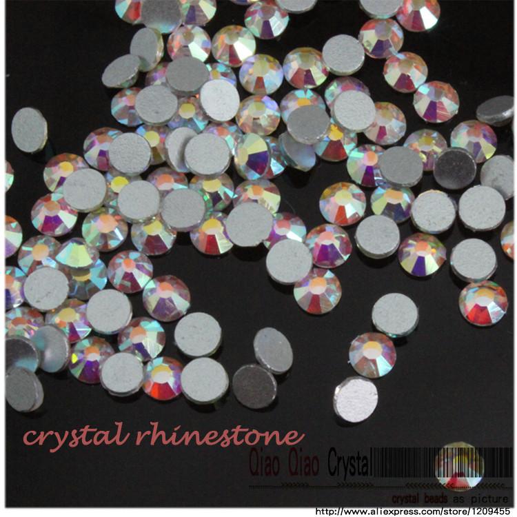 free shipping nail art rhinestone ss3-ss34 1440pcs/Bag 3D Clear Crystal AB DMC Non HotFix FlatBack trim strass rhinstone beads