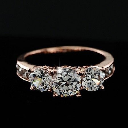 2014 Brand Design High quality Fashion Elegant Romantic Noble Plated 18K Real Gold Zircon Crystal Rings Engagement jewelry PT32(China (Mainland))