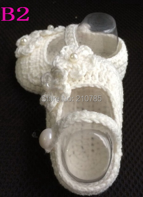 ,Handmade Crocheted Baby Booties, Crochet Pure Color shoes Girls Pearl Hasp First Walkers - Mary handmade shop store