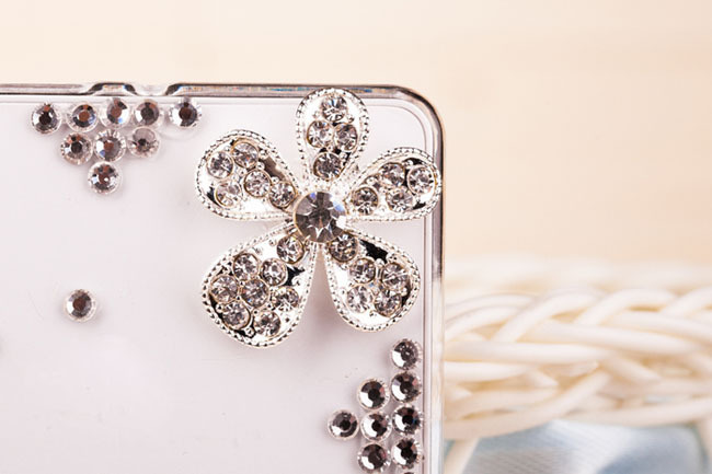 Cool diamond transparency case for google Nexus 4 LG E960 Silver Flower Bling Phone Accessories items(China (Mainland))