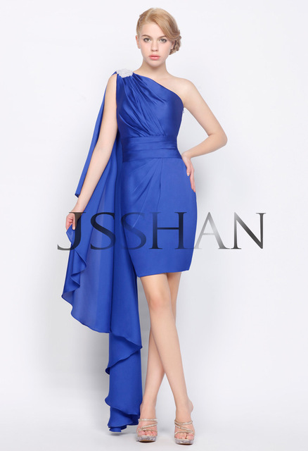 12C002 Ribbon One Shoulder Slim-Line Beading Ruched Short Elegant Gorgeous Luxury Party Cocktail Dress Party Dress
