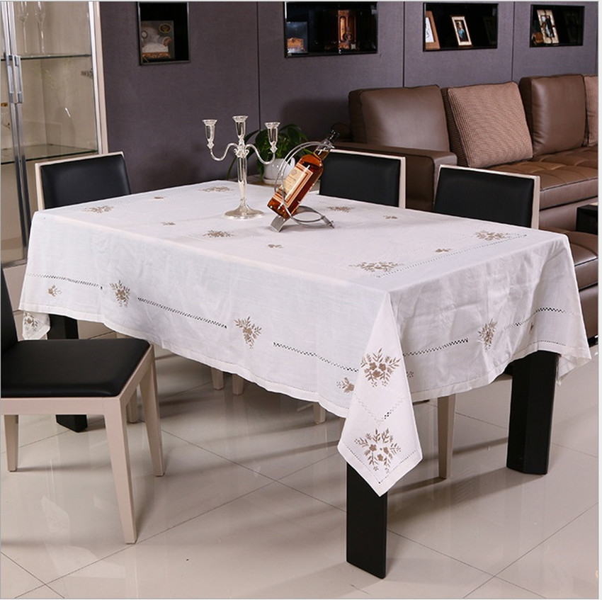 Handmade Embroidered White Cotton&Linen Westernfood Table Cloth Banquet Round Table Cloth Multi-function Dust-proof Cover(China (Mainland))