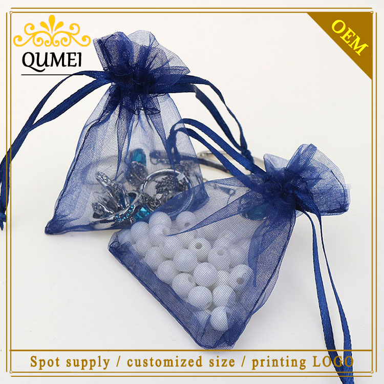 7x9cm Navy Blue Organza Jewelry Bags Cheap Organza Pouches Wedding Favors Tulle Bags Customed Logo Printed 500pcs/lot Wholesale(China (Mainland))
