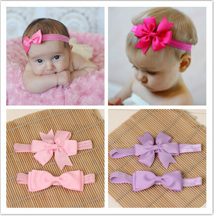 new big hot pink kids infant baby girls head wraps hair elastic bands ribbon bows tiara headbands satin flower hairband headwrap(China (Mainland))