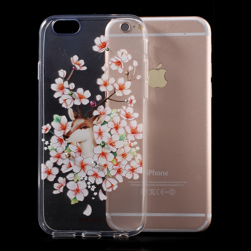 For iPhone 6s/6 4.7-inch Phone Cases KINGXBAR Swarovski Diamond TPU Phone Cover Case for iPhone 6s 6 Shell- Plum Blossom(China (Mainland))