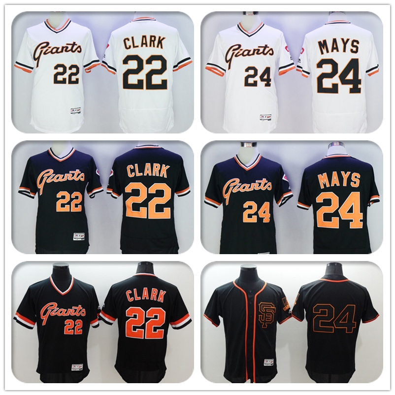 Mens Flexbase #22 Will Clark #24 Willie Mays Jersey Color Black Gray White Throwback Jerseys(China (Mainland))