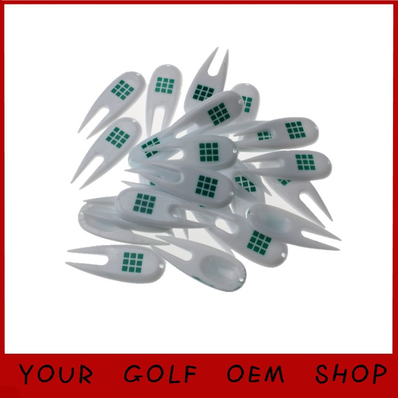 Print logo accept Promotion Plastic Divot Tools Golf Pitch Fork White Divots Tool golf ball tools 100pcs/lot(China (Mainland))