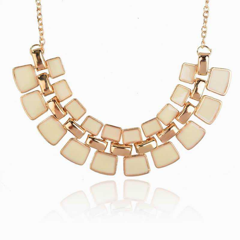 New Gold Plated Chain Long Necklaces Enamel Cluster Collar Choker Statement Jewelry Fashion Pendant Necklace For Women (China (Mainland))