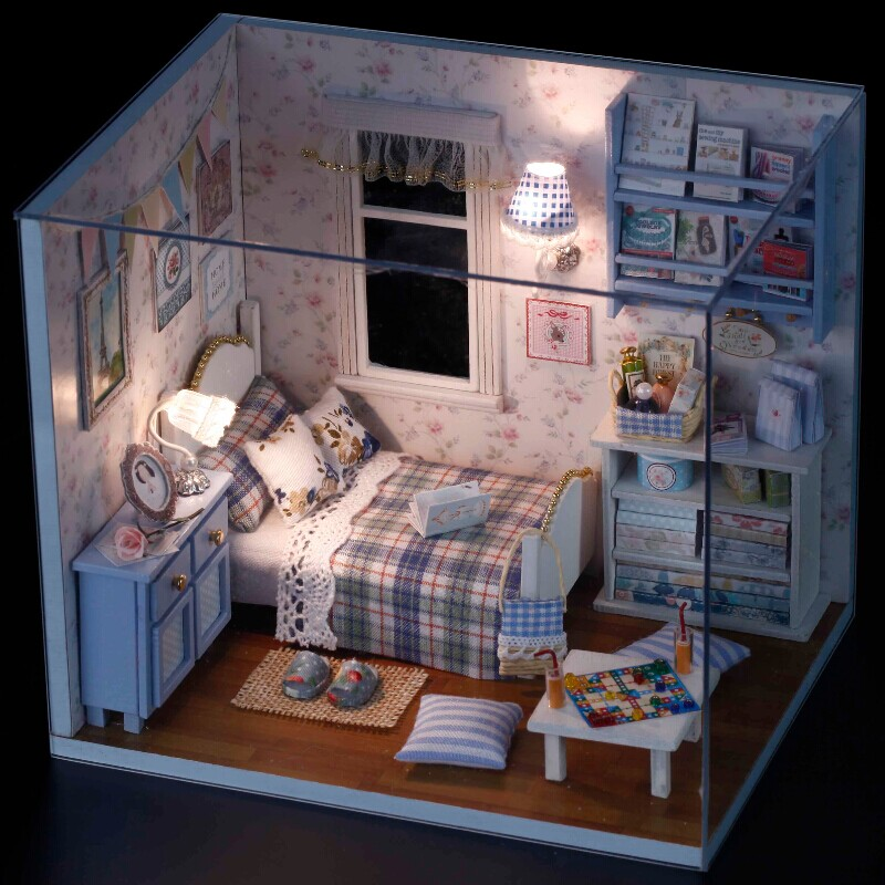 handmade room box wooden miniature dollhouse kit assemble diy doll house girlfriend boyfriend. Black Bedroom Furniture Sets. Home Design Ideas