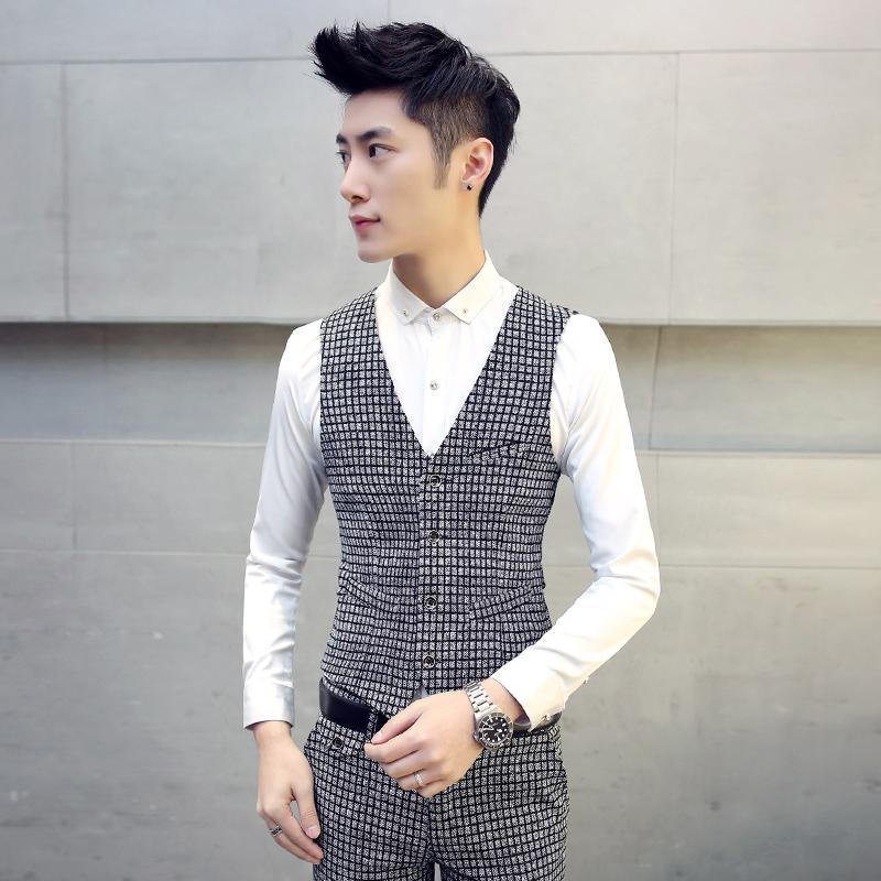 men's vest British gentleman casual plaid belt sanding thick vest pocket stitching Male fashion plaid leisure suit vest(China (Mainland))