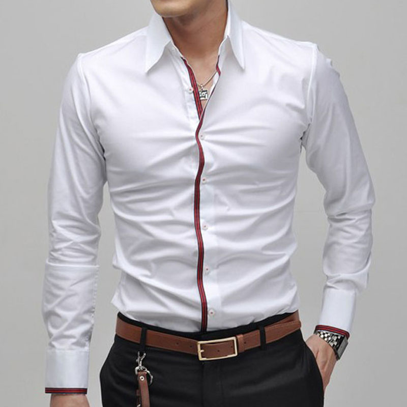 mens shirt slim fit fashion long sleeve casual shirts men