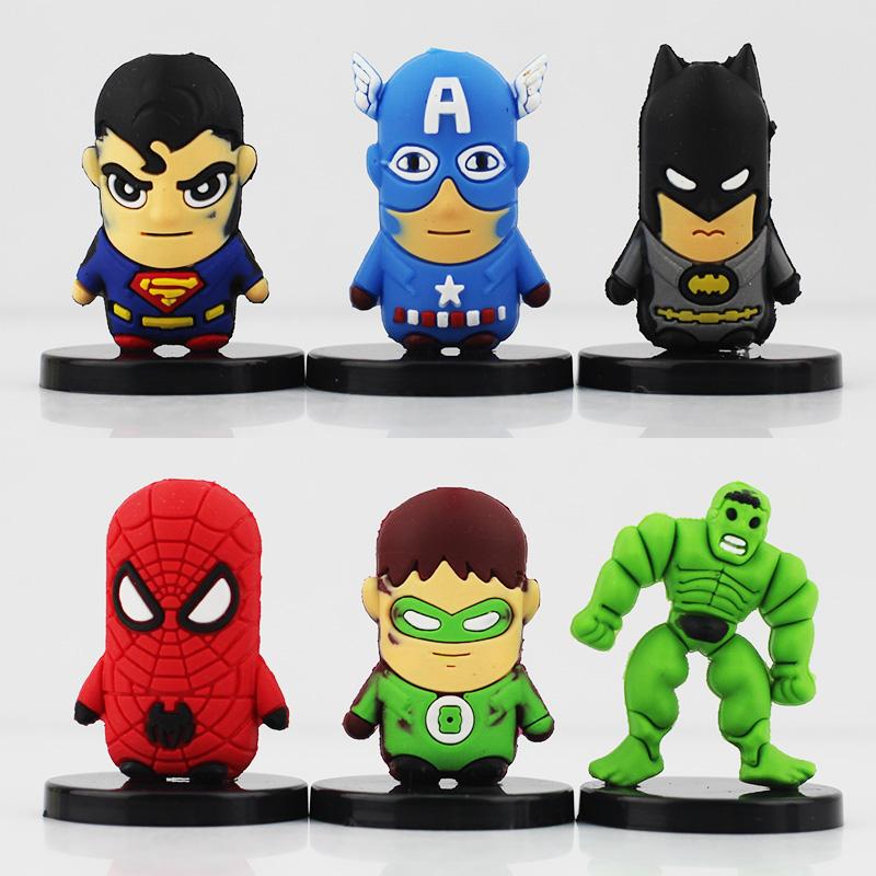 5sets/lot SuperHero Avengers Spider man Super Man Iron Batman Captain America Green Hulk Mini PVC Figure Toys - Dong Guang Ling Yu Technology Co., LTD. store