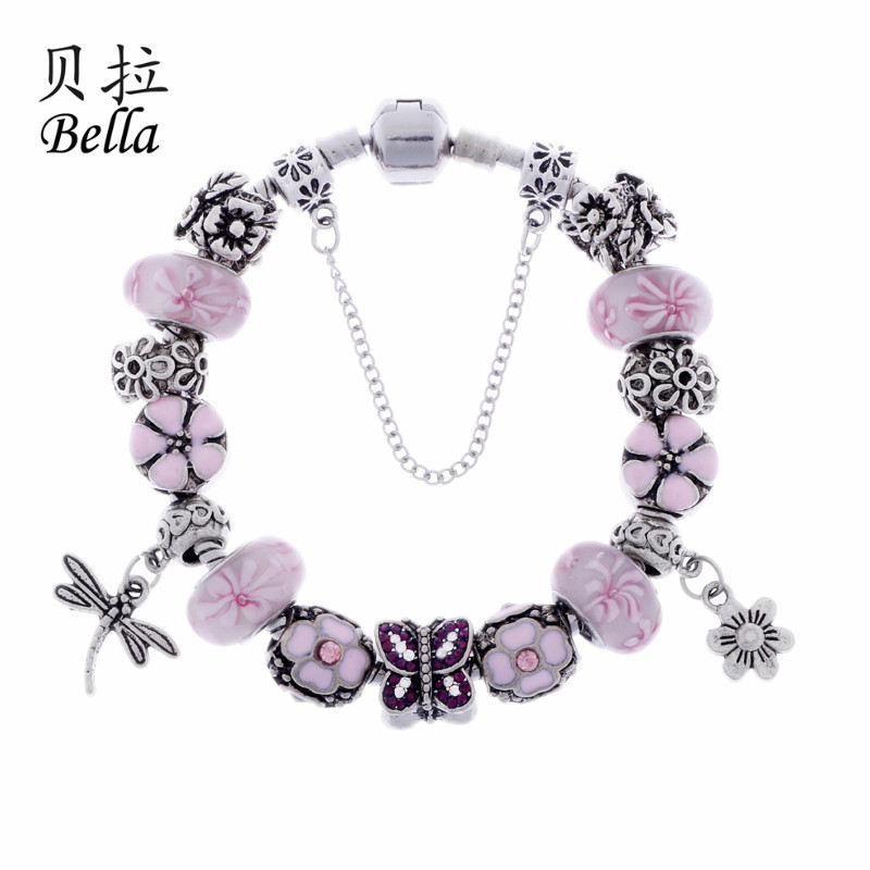 2015 Hot Selling Jewelry Classic Pink Flower Murano Glass Beads Fits Pandora Bracelets With Butterfly Charm(China (Mainland))