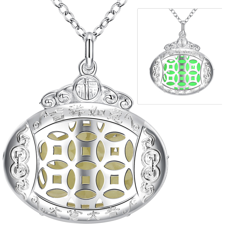 Antique Silver Hollow Out Oval Stripe Design Charms Women Necklaces Glow In Dark Bead Love Open Photo Frame Necklaces & Pendant(China (Mainland))