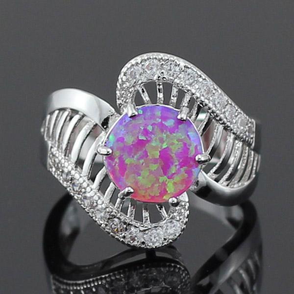 Free Gift Box Wholesale Retail Shining Gorgeous Hollow Pink Fire Opal CZ Stones Women Rings Size 5.5 6.5 70P(China (Mainland))