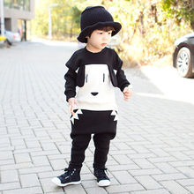 Fashion Kids Cute Dog Clothes Set Include Coat And Pants Warm Clothes Baby Boys Girls Clothing 2015 Autumn Winter New Arrival