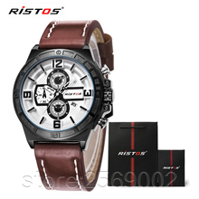 New RISTOS Mens Watches Top Brand Luxury Leather 3Bar Watch Box Handbags 93009 All Sports Men's Watch Quartz Wrist Watch reloj(China (Mainland))