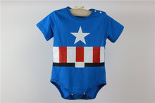 2015 Spring Summer 100 Cotton Short Sleeve Superman Baby Rompers Newborn Infant Clothing Toddler Boy Jumpsuits