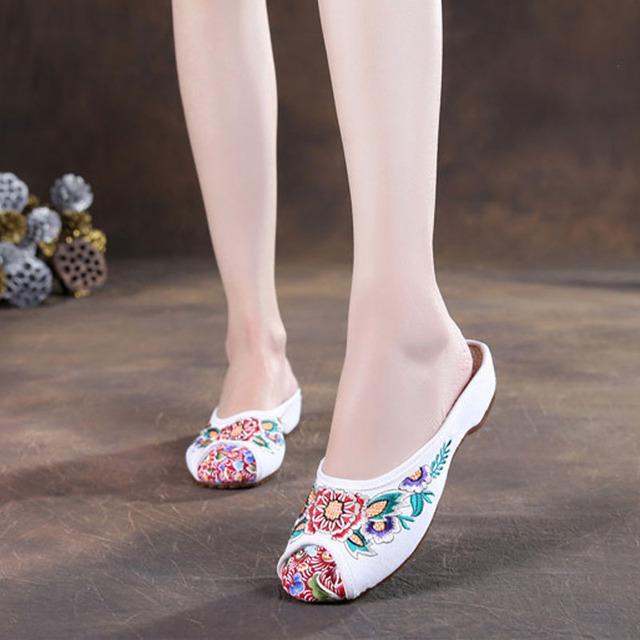 2016 этническом стиле квартиры женской обуви старый тапочки китайские вышивка мягкой ...