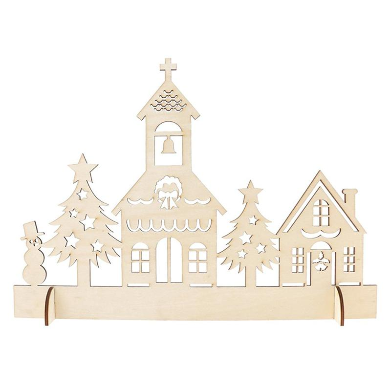 Wooden Christmas Decor Woodland Church Ornament Handcraft for Christmas(China (Mainland))