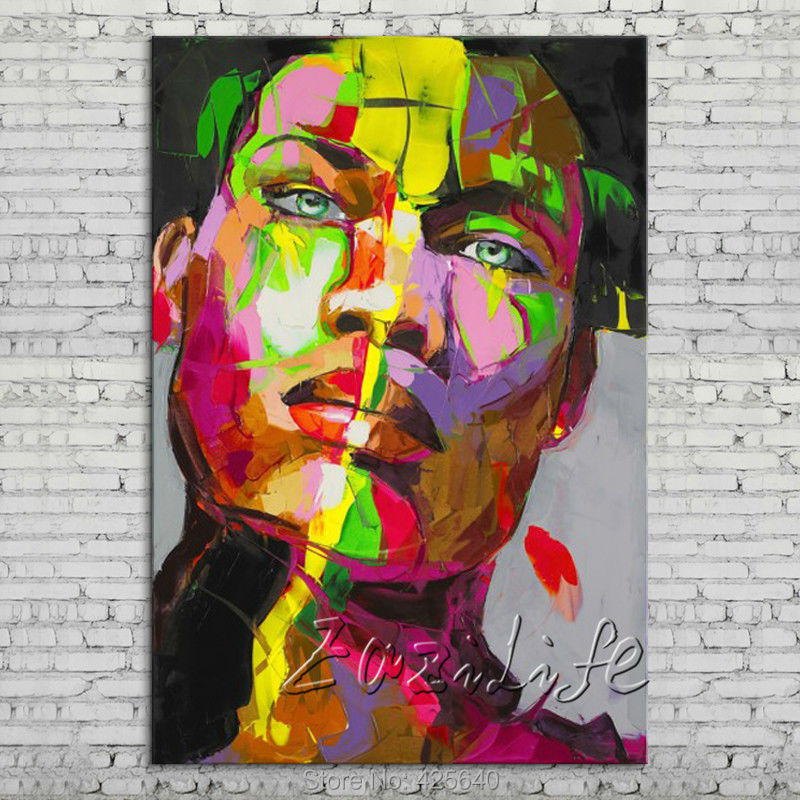 Buy Palette knife portrait Face Oil painting Character figure canvas Hand painted Francoise Nielly wall Art picture 512 cheap