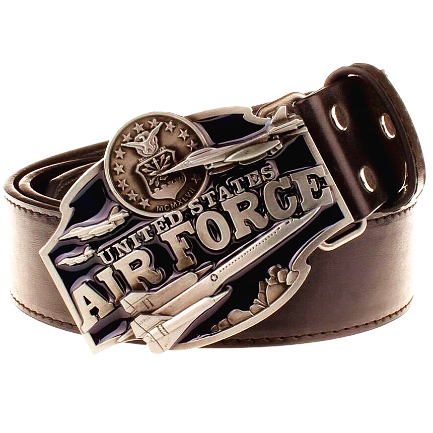 Cool men's leather belt metal buckle United States Air Force American style punk rock belts exaggerated belt hip hop girdle(China (Mainland))