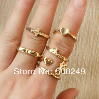 2014 finger rings fashion accessories women all-match gold heart love cross mouse bow joint ring sets 6pieces/set mixed sizes(China (Mainland))