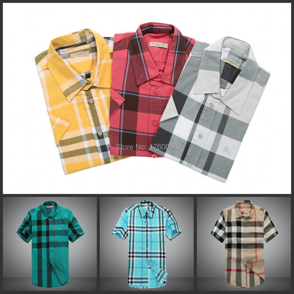 2015 Brand new plaid short shirts men stripes sleeve shirt man, top design gentlemen M-XXL - The freezing point of casual clothing store