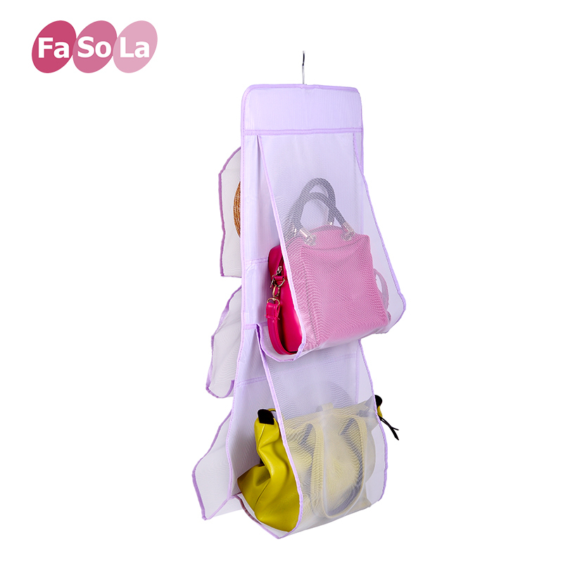 FaSoLa Foldable Five Pockets Polyester Fabric Wall Hanging Storage Bag Organizer Bags Hats Container(China (Mainland))