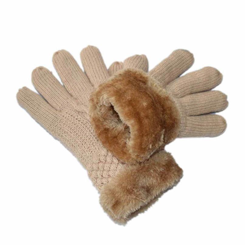 Современная мода женская теплая зима трикотажные перчатки один размер меховая подкладка 6 цвета одежды, Бесплатная доставка Sep18