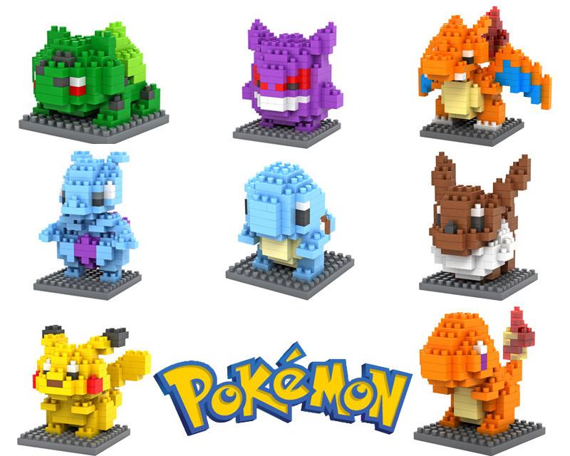 Pokemon Figures Model Toys Pikachu Charmander Bulbasaur Squirtle Mewtwochild Eevee Child Christmas gift 9+ Anime Building Blocks(China (Mainland))